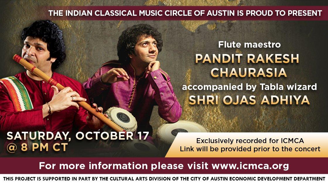 ICMCA presents Pt. Rakesh Chaurasia (Flute)/Shri Ojas Adhiya (Tabla)