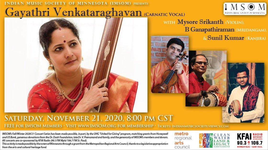 Carnatic Vocal - Gayathri Venkataraghavan [IMSOM Fall 2020 Concert #2]
