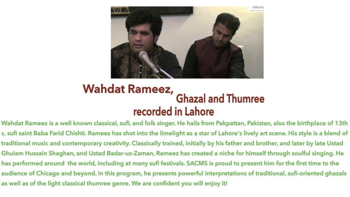 Wahdat Rameez, Ghazal and Thumree