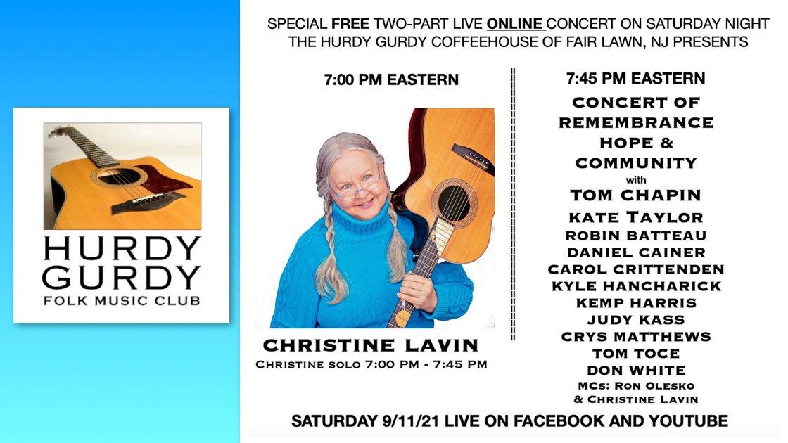 Virtual Concert - Christine Lavin & A Concert of Remembrance/Hope/Community