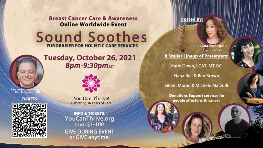 """You Can Thrive! Breast Cancer Awareness Fundraiser:  Sound Healing Concert. Click """"View Stream"""" To Register."""